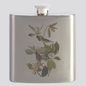 Warbling Flycatcher Bird Vintage Audubon Art Flask