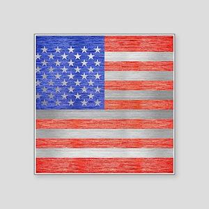 "USA FLAG METAL 1 Square Sticker 3"" x 3"""