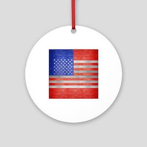 USA FLAG METAL 1 Round Ornament