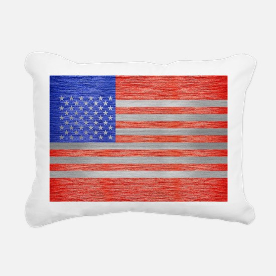 USA FLAG METAL 1 Rectangular Canvas Pillow