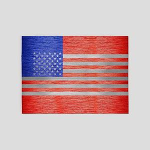 USA FLAG METAL 1 5'x7'Area Rug
