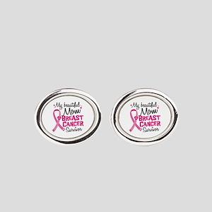 Mom Breast Cancer Oval Cufflinks