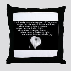 Prayer of St. Francis with Calla Lily Throw Pillow