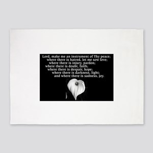 Prayer of St. Francis with Calla Lily 5'x7'Area Ru