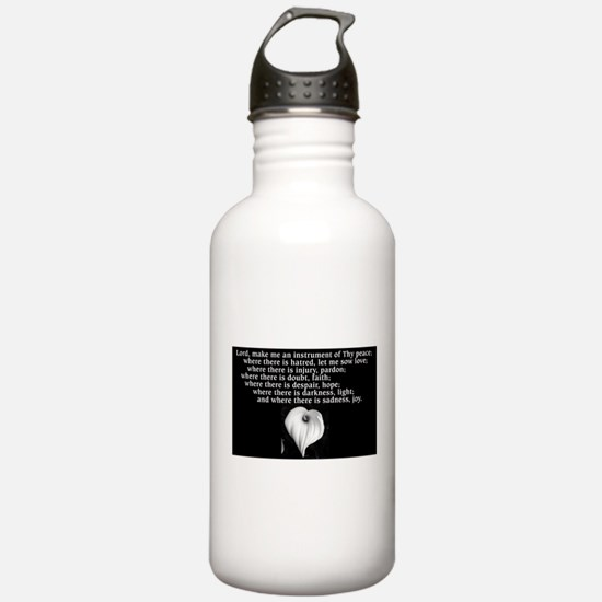Prayer of St. Francis with Calla Lily Water Bottle