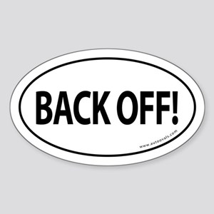 BACK OFF Auto Sticker -White (Oval)