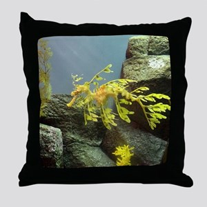 Leafy Sea Dragon with Rocks Throw Pillow