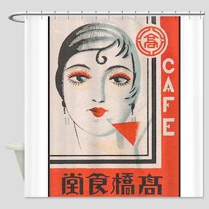 Vintage Japanese Matchbox Label Pos Shower Curtain