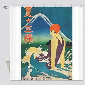 Vintage Japanese Travel Poster Shower Curtain