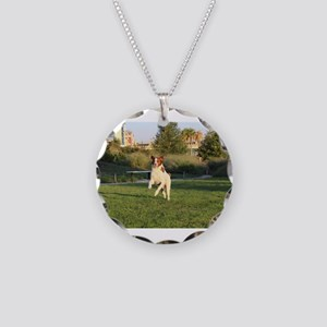 Leaping Brittany Spaniel Necklace Circle Charm