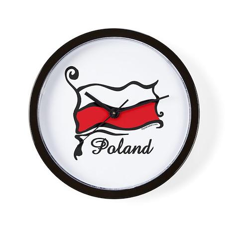 Funky Polish Flag Wall Clock