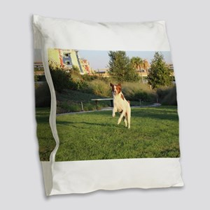 Leaping Brittany Spaniel Burlap Throw Pillow