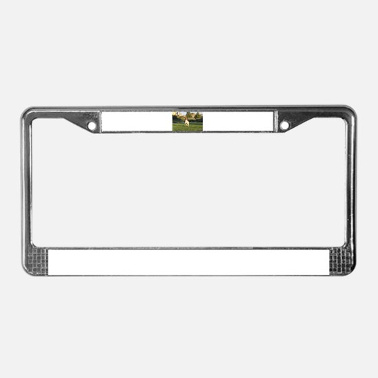 Leaping Brittany Spaniel License Plate Frame