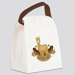 Crazy Alpaca lady Canvas Lunch Bag