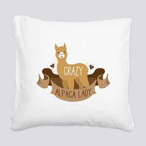 Crazy Alpaca lady Square Canvas Pillow