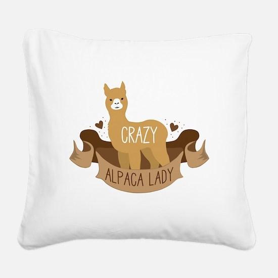 Crazy Alpaca lady Square Canvas Pillow