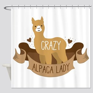 Crazy Alpaca lady Shower Curtain