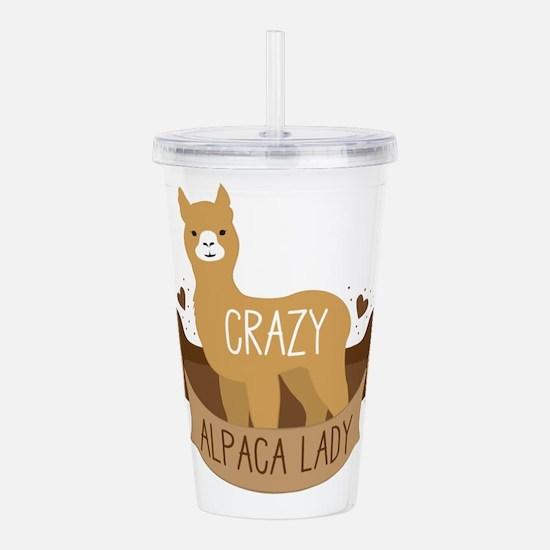 Crazy Alpaca lady Acrylic Double-wall Tumbler