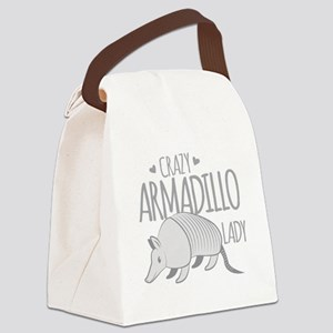 Crazy Armadillo lady Canvas Lunch Bag