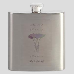 Cute Watercolor Peonies Flowers Flask