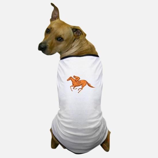 Jockey Horse Racing Drawing Dog T-Shirt