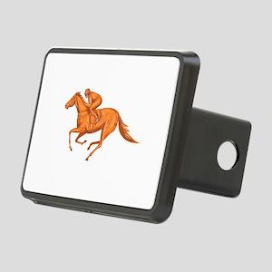 Jockey Horse Racing Drawing Hitch Cover