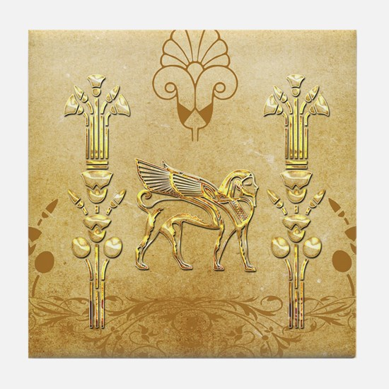 Wonderful egyptian sign with lion Tile Coaster
