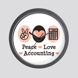 Peace Love Accounting Accountant Wall Clock