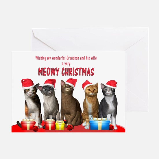 For grandson and wife, Cats in Christmas hats Gree