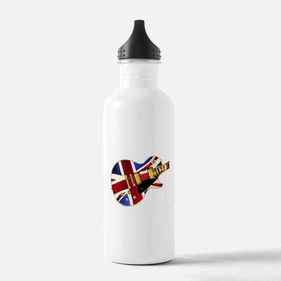 Union Jack Flag Guitar Water Bottle