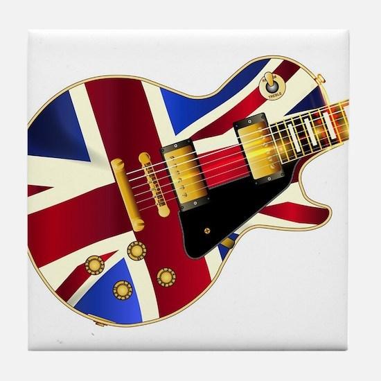 Union Jack Flag Guitar Tile Coaster