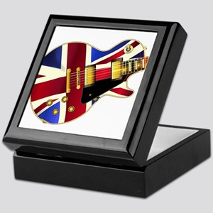 Union Jack Flag Guitar Keepsake Box