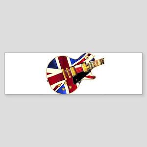 Union Jack Flag Guitar Bumper Sticker