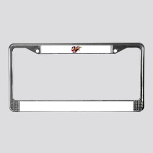 Union Jack Flag Guitar License Plate Frame