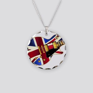 Union Jack Flag Guitar Necklace Circle Charm