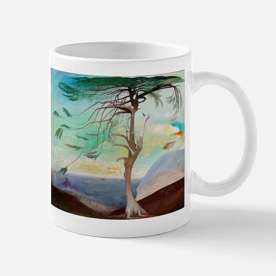 Lonely Cedar Tree Landscape Painting Mugs