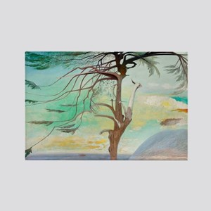 Lonely Cedar Tree Landscape Painting Magnets