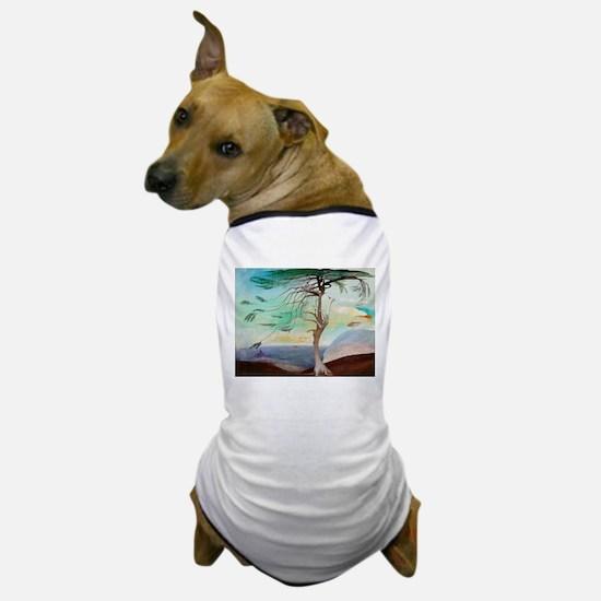 Lonely Cedar Tree Landscape Painting Dog T-Shirt
