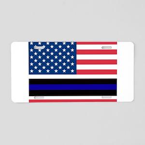 Police Blue Line Aluminum License Plate