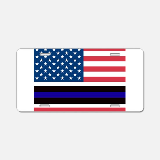 Police Blue Line Aluminum License Plate