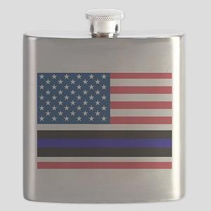 Police Blue Line Flask
