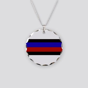 Police & Fire Blue & Red Lin Necklace Circle Charm