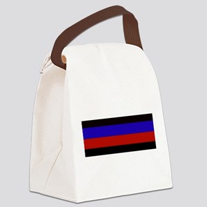 Police & Fire Blue & Red Lines Canvas Lunch Bag