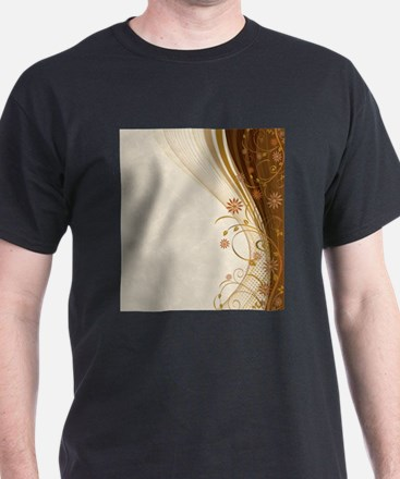 Elegant Floral Abstract Decorative Beige T-Shirt