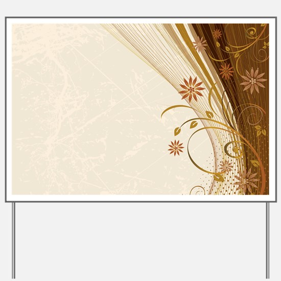 Elegant Floral Abstract Decorative Beige Yard Sign