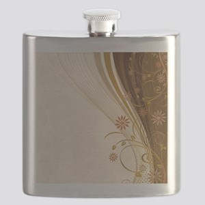 Elegant Floral Abstract Decorative Beige Flask