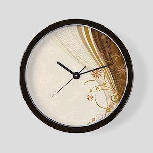 Elegant Floral Abstract Decorative Beig Wall Clock