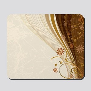 Elegant Floral Abstract Decorative Beige Mousepad