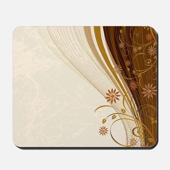 Elegant Floral Abstract Decorative Beige Mousepad