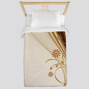 Elegant Floral Abstract Decorative Beig Twin Duvet
